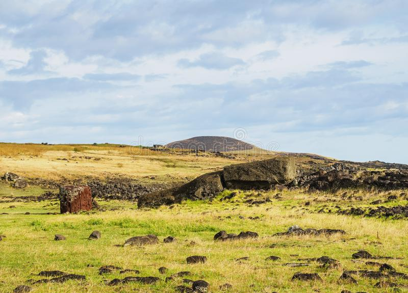 Moai on Easter Island, Chile stock photography