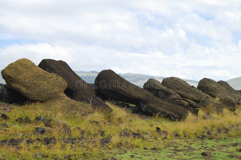 Fallen Moais - Easter Island stock photography