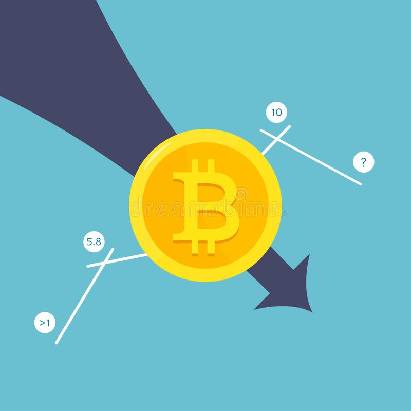 The Fallen In Price Bitcoin Flying Down On Red Arrow. Bankrupt Bitcoin. stock illustration
