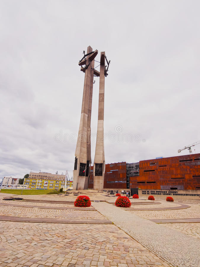 Fallen Shipyard Workers Monument in Gdansk, Poland. Monument of the Fallen Shipyard Workers also known as Solidarity Monument in Gdansk, Poland royalty free stock photos