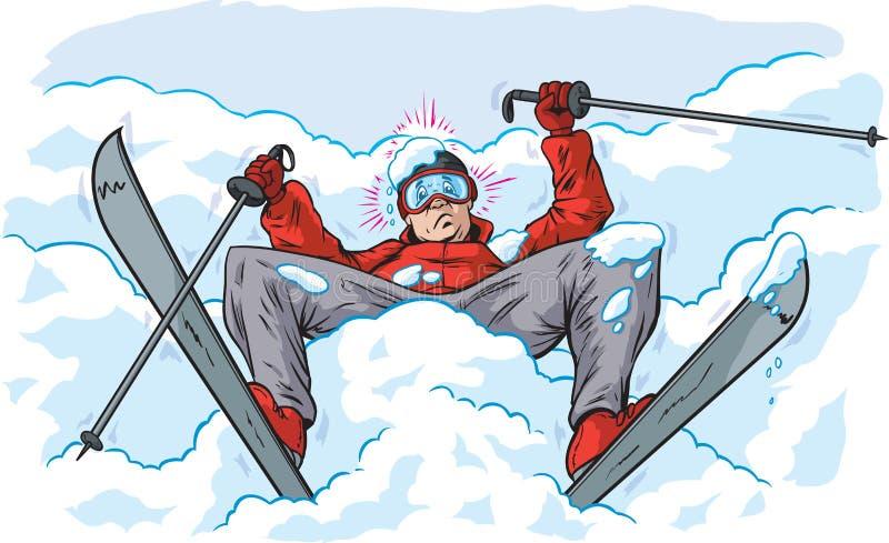 Fallen skier. Cartoon of a skier who has fallen royalty free illustration