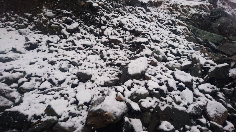 Fallen snow on the rocks royalty free stock image