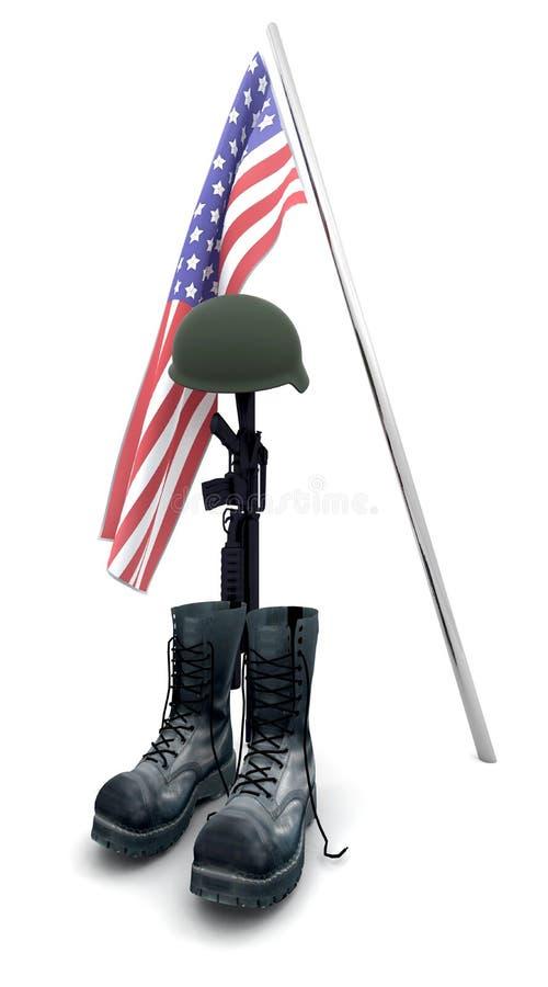 Fallen soldier tribute. 3d render of fallen soldier tribute stock illustration