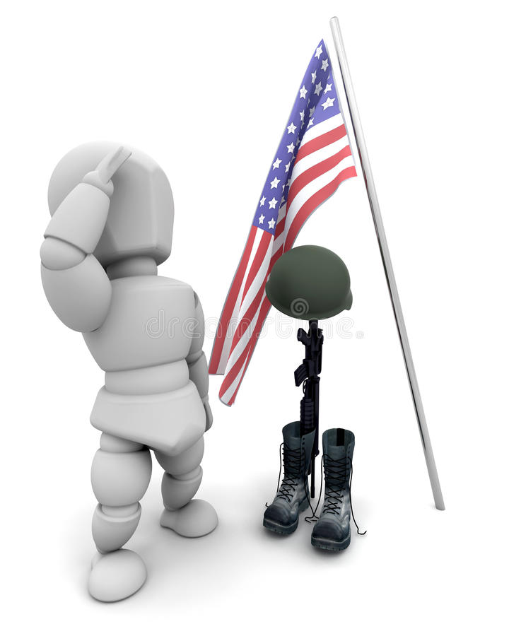 Fallen soldier tribute. 3d render of fallen soldier tribute royalty free illustration