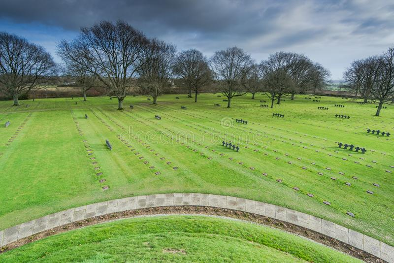 German Military Cemetery at La Cambe, Normandy, France. Fallen Soldiers Crosses at German Military Cemetery and Memorial in La Cambe, Normandy, France stock photos