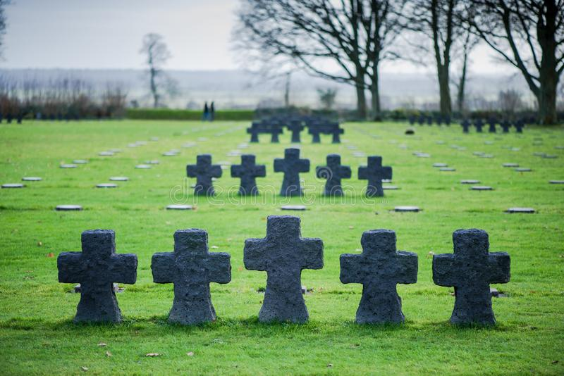 German Military Cemetery at La Cambe, Normandy, France. Fallen Soldiers Crosses at German Military Cemetery and Memorial in La Cambe, Normandy, France royalty free stock photo
