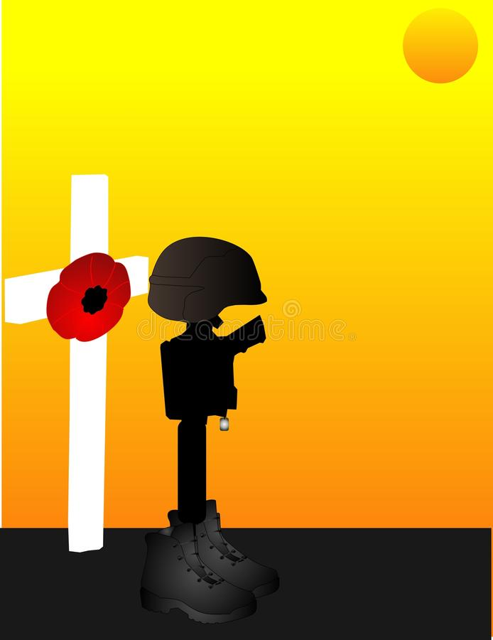 Fallen Soldiers.. Lest we forget... For all the brave ,fallen, men and women, who gave their lives for us to be free... Lest we forget royalty free illustration