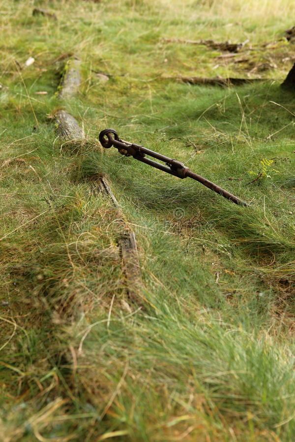 Fallen telegraph pole. Scrubby old fallen telegraph post with metal rope stock photos