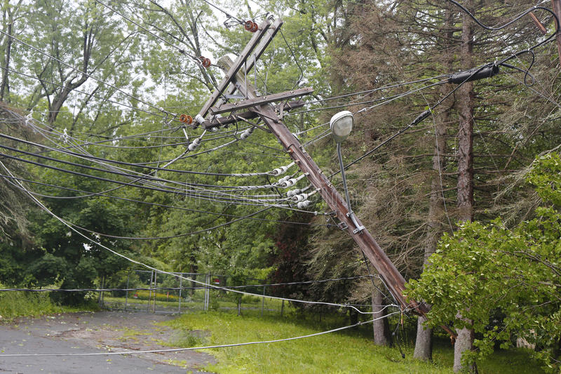 Fallen tree damaged power lines in the aftermath of severe weather and tornado in Ulster County, NY stock photo