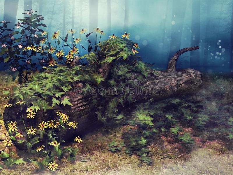 Fallen tree with ivy and flowers. Old fallen tree with green ivy and yellow flowers in the forest stock illustration