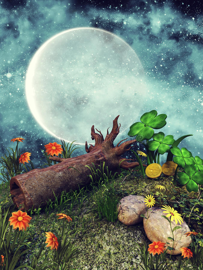 Fallen tree on a meadow. Fallen tree on a colorful meadow with clover and flowers stock illustration
