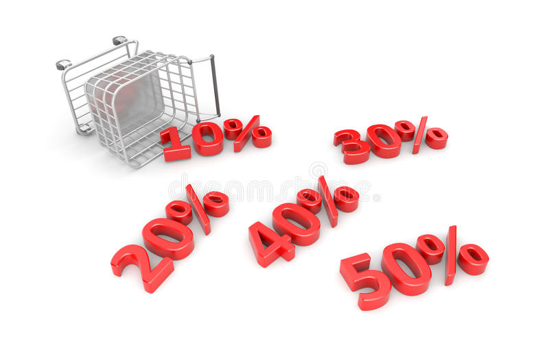 Download Fallen Trolley With Scattered Discounts Stock Illustration - Image: 25517952