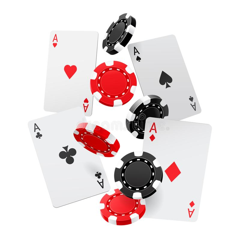 Fallende Asse und Kasinochips mit lokalisiert auf weißem Hintergrund Spielkarten, Rot und Schwarzgeldchips fliegen E lizenzfreie abbildung