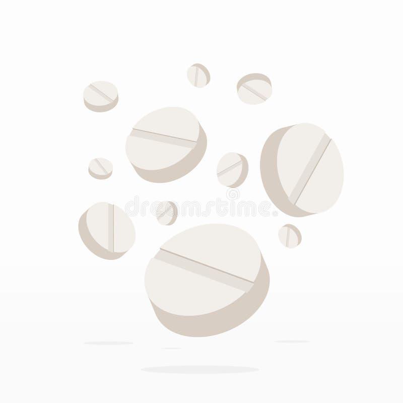 Fallende Drogen oder Pillen-Medizin auf Weiß vektor abbildung