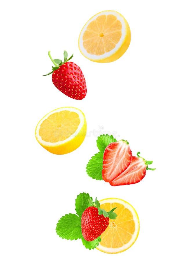 Fallende Erdbeere und Zitrone auf Weiß stockfotografie