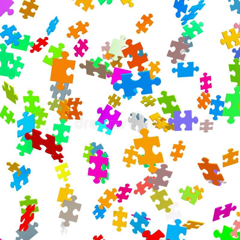Fallende farbige Puzzlespiel-Stücke - Laubsäge stock abbildung