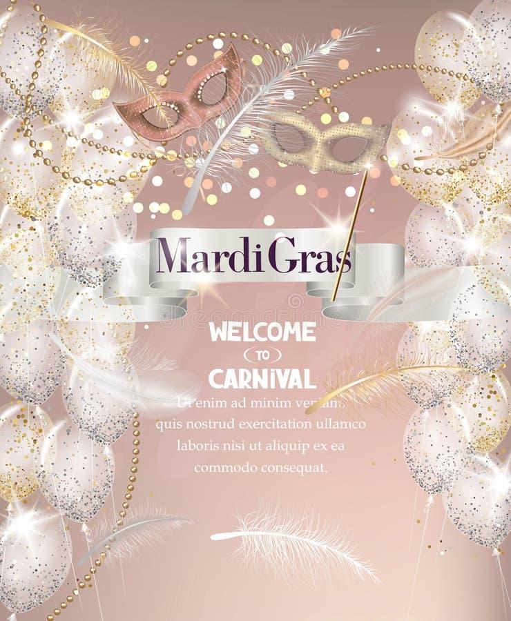 Fallende Federn, Perlen, Band und Karnevalsmasken Mardi Gras-Hintergrund vektor abbildung
