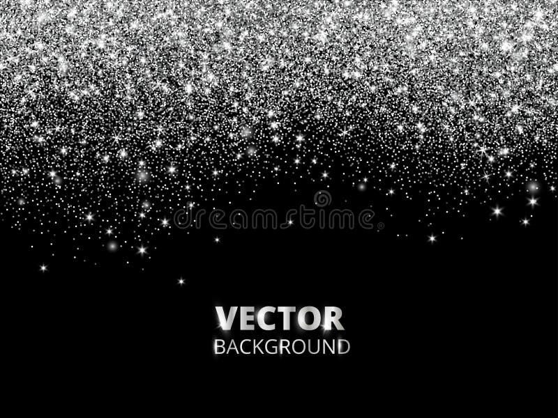 Fallende Funkelnkonfettis Vector silbernen Staub, Explosion auf schwarzem Hintergrund Funkelnde Funkelngrenze, festlicher Rahmen vektor abbildung