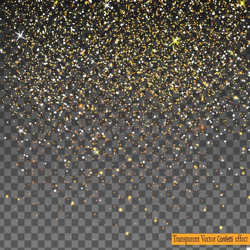 Fallende glänzende Goldfunkeln-Konfettis lokalisiert auf transparentem Hintergrund lizenzfreie abbildung