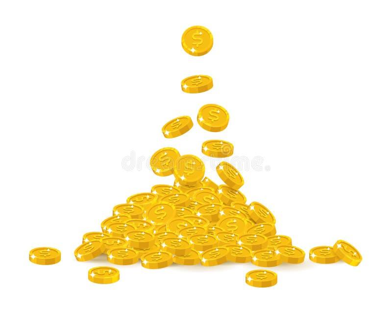Fallende Golddollarkarikatur lokalisiert stock abbildung