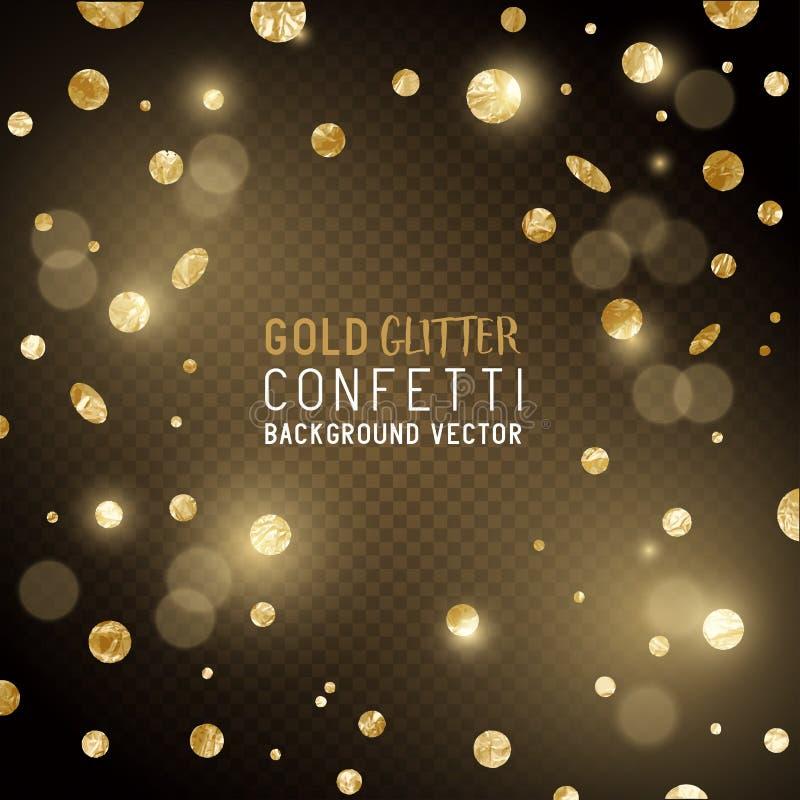 Fallende Goldkonfettis stock abbildung