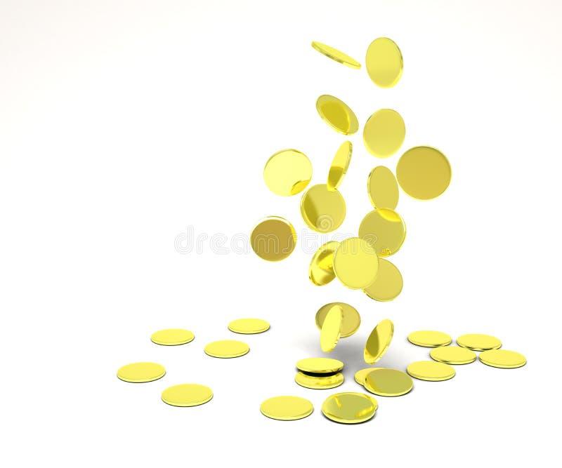 Fallende Goldmünzen lizenzfreie abbildung