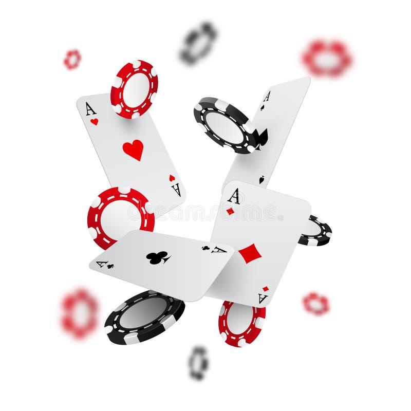 Fallende Kasinochips und -asse mit unscharfen Elementen, Vektorillustration lizenzfreie abbildung
