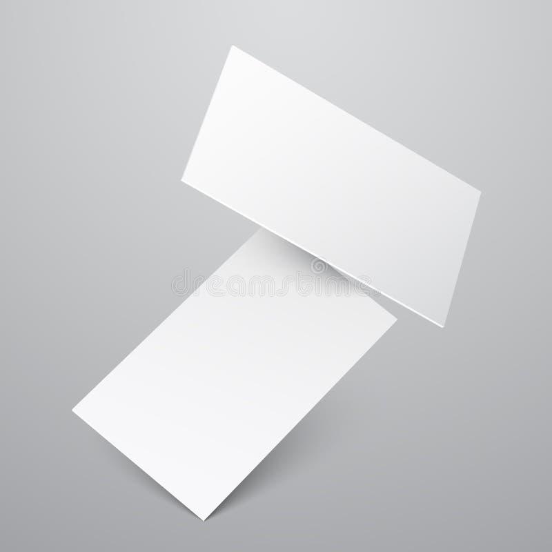 Fallende leere weiße Visitenkartevektorschablone vektor abbildung