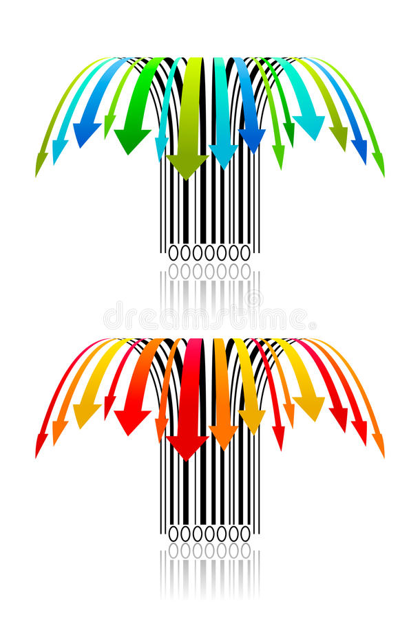 Fallende Preise buntes kreatives barcodes1 vektor abbildung