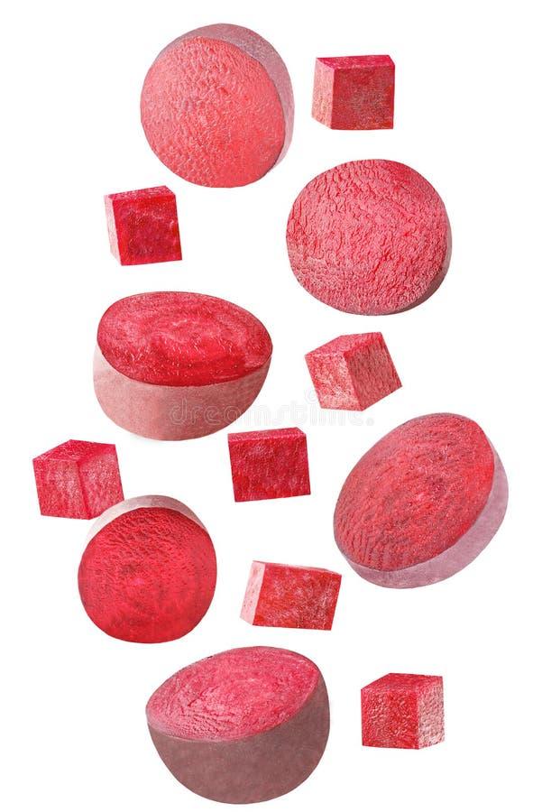 Fallende rote Rübe lokalisiert auf weißem Hintergrund lizenzfreies stockbild