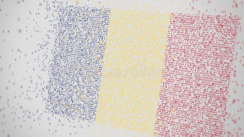 Fallende Zahlen bilden Flagge von RUMÄNIEN Nationale IT-BEZOGENe Wiedergabe 3D der Informationstechnologie lizenzfreie abbildung