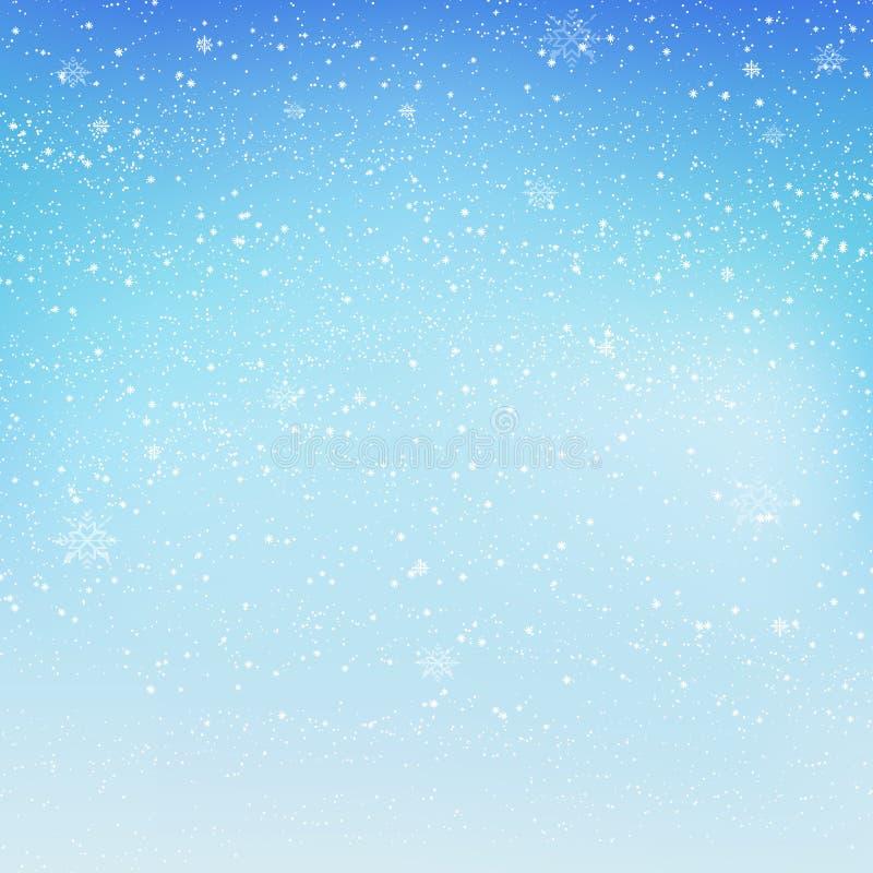 Fallender glänzender Schnee oder Schneeflocken auf blauem Hintergrund für frohe Weihnachten und guten Rutsch ins Neue Jahr Vektor vektor abbildung