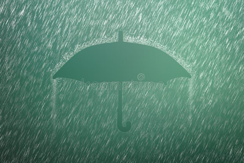Fallender Regentropfen auf grünem Hintergrund mit Regenschirmform Sturm des starken Regens und des Wetters, wenn Jahreszeit gereg stockfoto