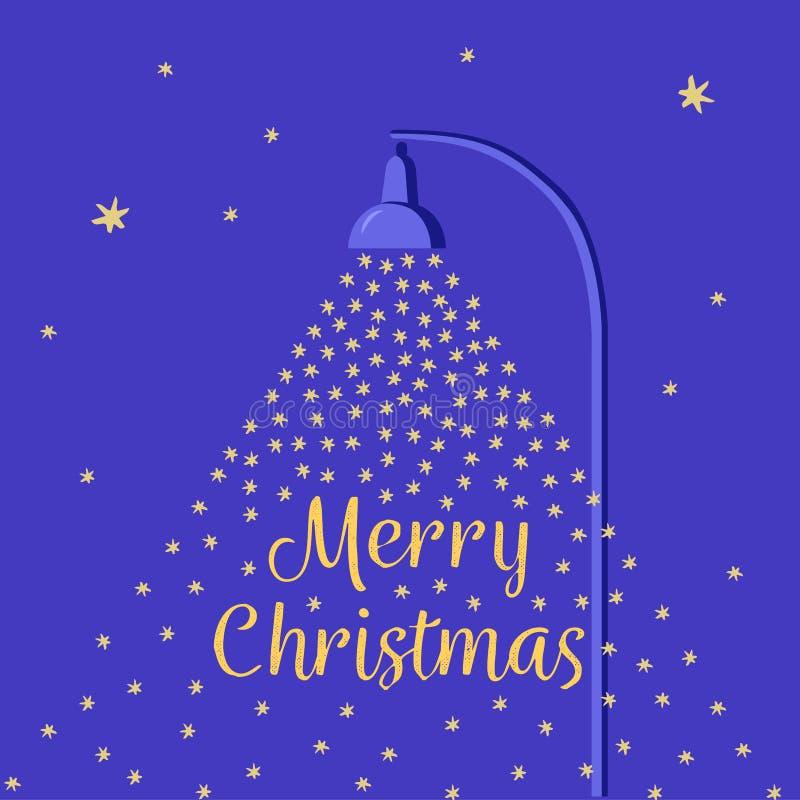 Fallender Schnee beleuchtet durch eine Straßenlaterne Flache Karte Art der Karikatur Weihnachts Nächtlicher Himmel mit Sternen Se lizenzfreie abbildung