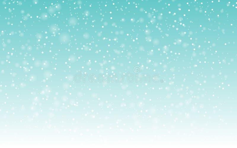 Fallender Schneehintergrund Vektorillustration mit Schneeflocken Schneiender Himmel des Winters vektor abbildung