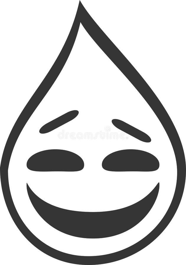 Fallender Wasser-Tropfen, lächelndes lachendes Gesicht Emoji vektor abbildung