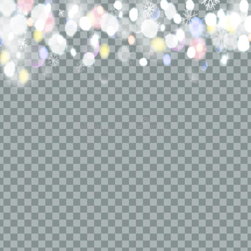 Fallender Weihnachtsglänzender transparenter schöner Schnee lokalisiert auf transparentem Hintergrund Schneeflocken, Schneefälle  lizenzfreie abbildung