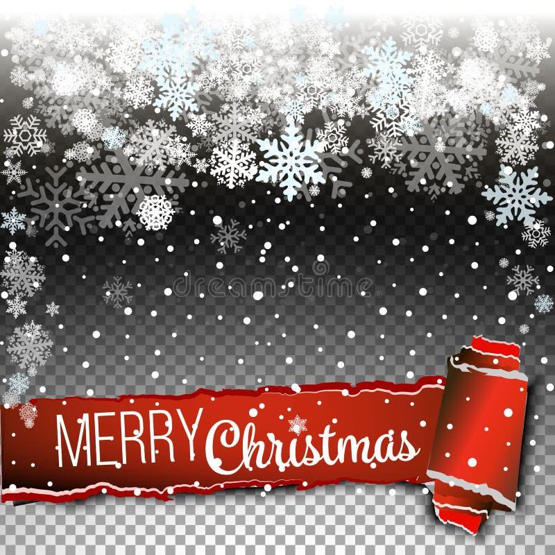 Fallender Weihnachtsglänzender weißer transparenter schöner Schnee lokalisiert auf transparentem Hintergrund Schneeflocken, Schne vektor abbildung