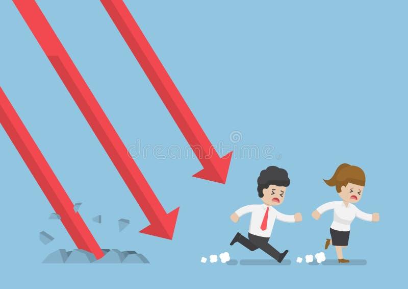 Fallendes Diagramm Geschäftsmann-Run Away Froms lizenzfreie abbildung