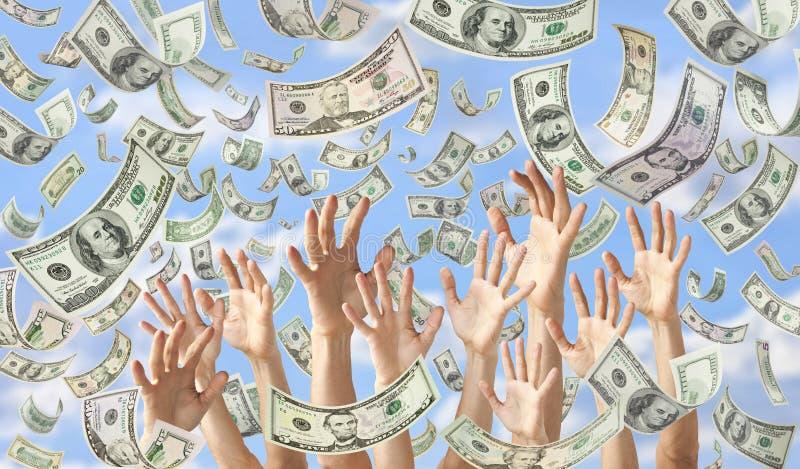 Fallendes Geld übergibt Dollar-Fahnen-Hintergrund lizenzfreies stockfoto