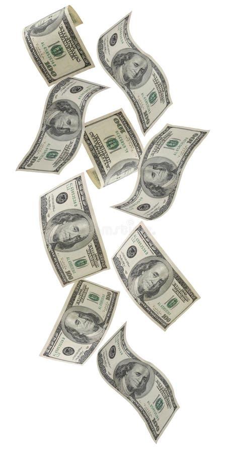 Fallendes US-Geld lizenzfreie stockfotos