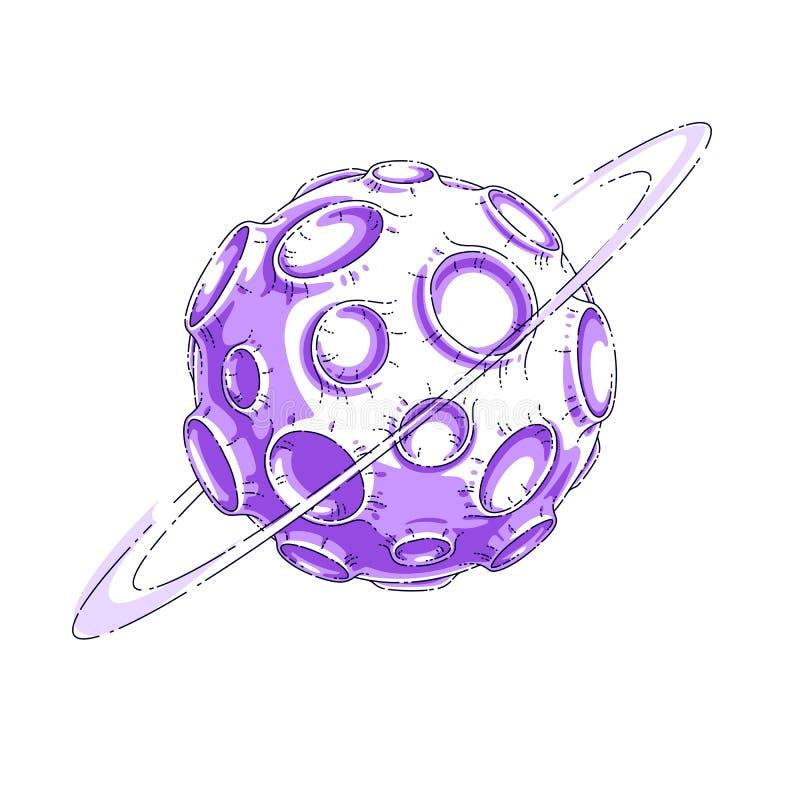Faller den fantastiska planeten f?r den lilla tecknad filmvektorn med krater fr?n asteroid- och meteoritregn G?r linjen 3d-vektor royaltyfri illustrationer