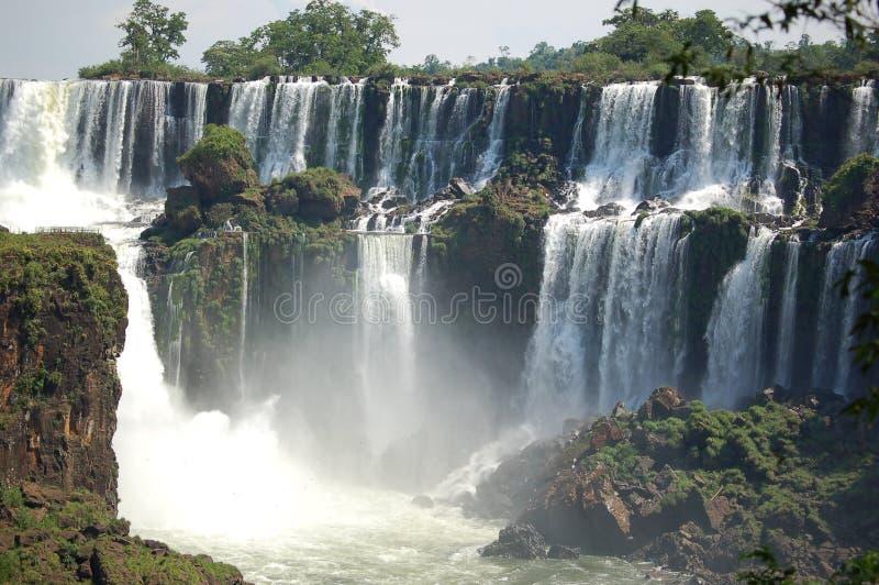 faller den panorama- sikten för iguazuen arkivfoton
