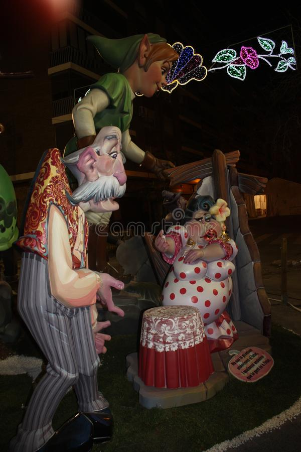 The Falles in the city of Valencia stock image