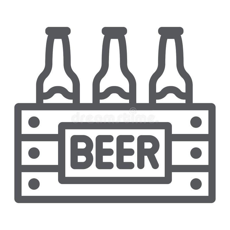 Fallet av öllinjen symbol, alkohol och drinken, packe av ölflaskor undertecknar, vektordiagram, en linjär modell på ett vitt royaltyfri illustrationer