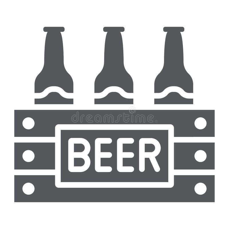 Fallet av ölskårasymbolen, alkohol och drinken, packe av ölflaskor undertecknar, vektordiagram, en fast modell på ett vitt vektor illustrationer