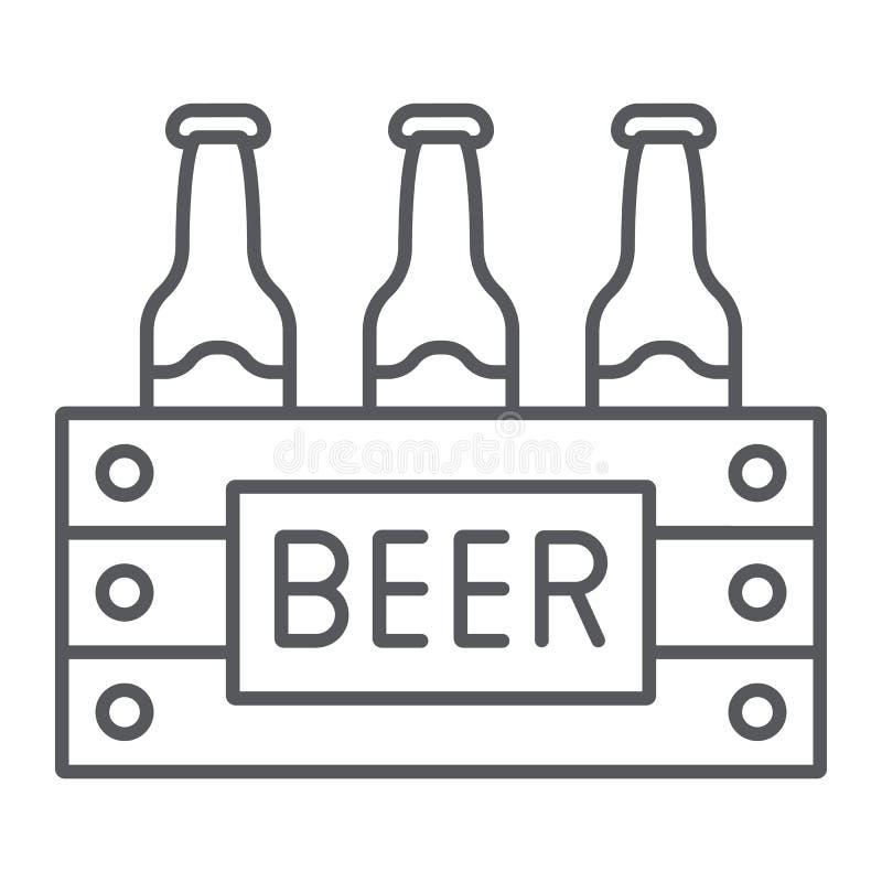 Fallet av den tunna linjen symbol för öl, alkohol och drinken, packe av ölflaskor undertecknar, vektordiagram, en linjär modell p royaltyfri illustrationer