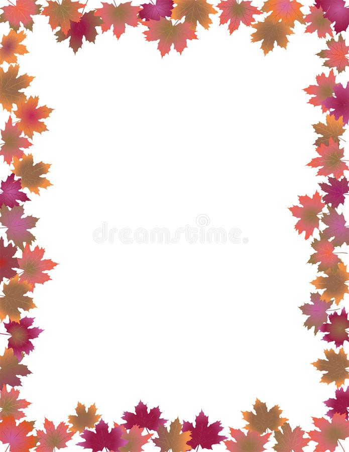 Fall Leaves Border isolated on White Background. royalty free illustration