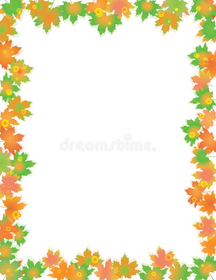 Colorful Leaves Border isolated on White. royalty free illustration