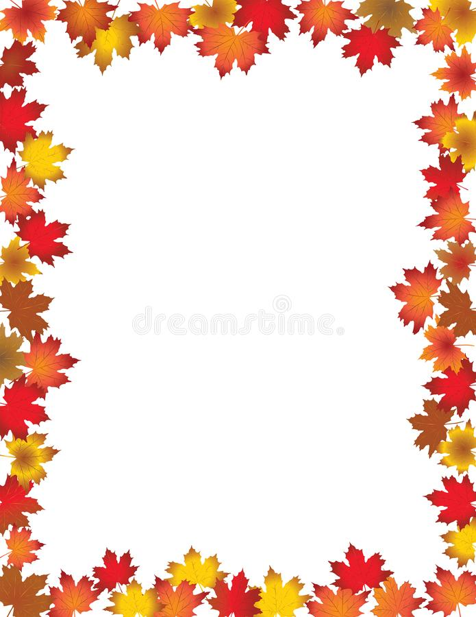 Fall Leaves Border  on White Background. Red, yellow and orange  fall leaves with copy space. Vector and jpg format available Autumn foliage frame for text vector illustration